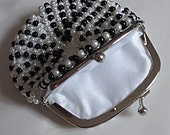 Sophisticated Black and White Pearls Beaded Change Purse
