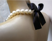Bridesmaid Necklace - Bridal Pearl And Black  Color  Satin Ribbon Necklace- Perfect for Bride, Wedding, Bridesmaids And Formal