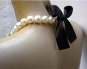 Bridesmaid Necklace - Bridal Pearl And Black  Color  Satin Ribbon Necklace- Perfect for Bride, Wedding, Bridesmaids And Formal