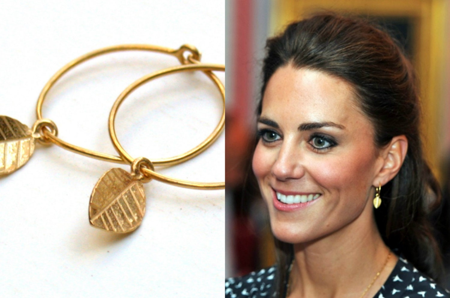 kate middleton gold leaf earings the princess earrings