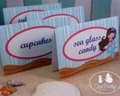Mermaid Party Custom Tent Place Cards - Blue Lagoon Collection from Tea Party Designs