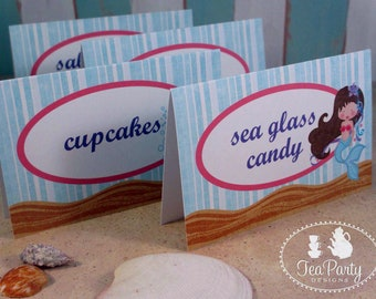 Mermaid Party Custom Tent Place Cards - Blue Lagoon Collection