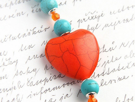 Bright Orange Aqua Blue Turquoise Bracelet Colorful Large Heart Mod Fashion Sterling Silver Swarovski Crystal Toggle Clasp Beaded bracelet