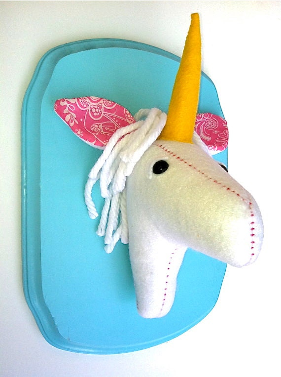 Unicorn felt taxidermy/faux taxidermy/trendy