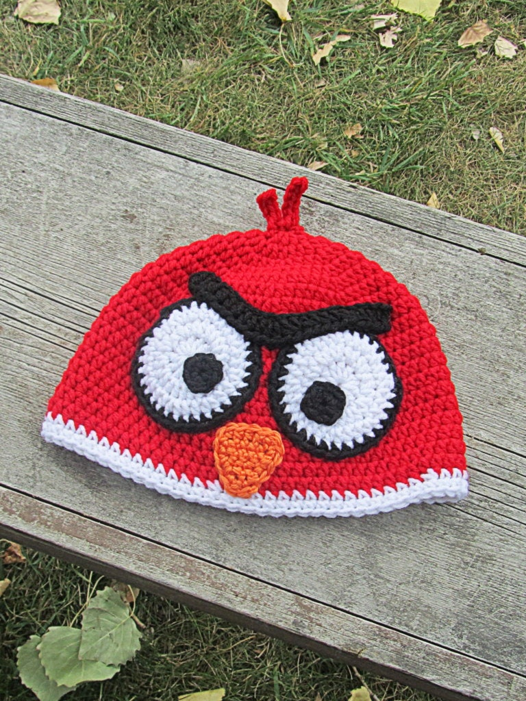 Crochet Hat Pattern Angry Bird : Angry Birds Beanie Crochet Hat Newborn to Tween Etsy