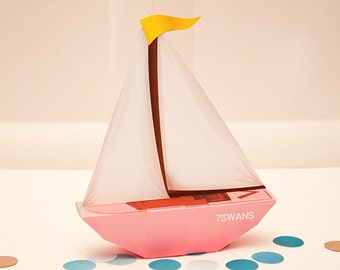 SAILBOAT Favor Box (Pink) : DIY Printable PDF - Instant Download