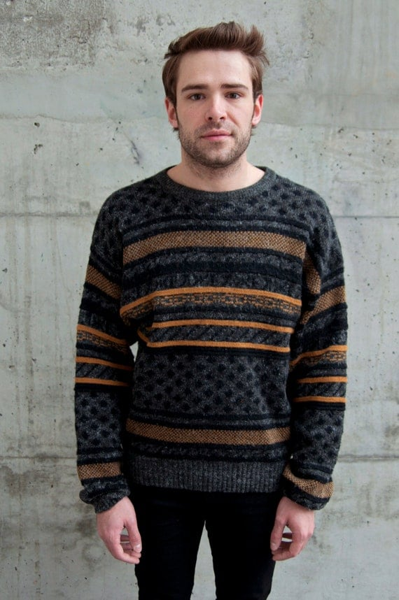 Vintage Oversized Grey Striped Sweater for Men