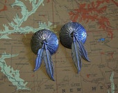 Vintage Silver Concho with Feathers Earrings