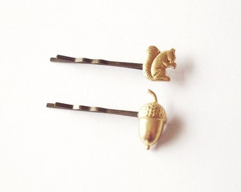 Squirrel Bobby Pin Bridal Hair Clip Gold Acorn Bridesmaid Girls Nature Forest Animal Autumn Fall Rustic Woodland Wedding Accessories Spring