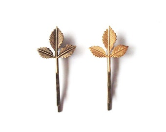 Leaf Hair Accessories Gold Bridal Bobby Pins Bridesmaid Clips Botanical Grecian Greek Goddess Rustic Woodland Weddings Womens Gift For Her