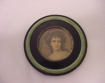 Vintage Tin Framed Woman Portrait Print   12 - 490
