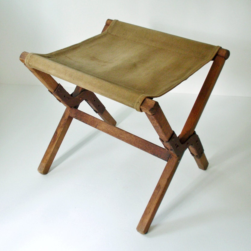 Vintage Canvas And Wood Fold Up Army Stool Camping Stool