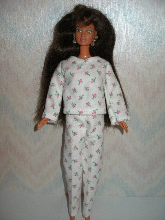 Handmade Barbie doll clothes - white and pink floral flannel pajamas