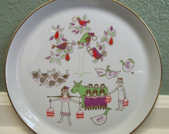 Vintage Dick Litzel Christmas Plate 1971 Season's Greetings Shenango Eight Maids A-Milking