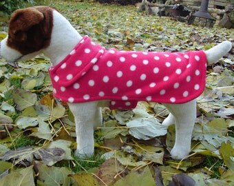 Dog Coat - Red and White Polka Dot Fleece Dog Coat- Size  Small- 12 to 14 Inch Back Length - Or Custom Size