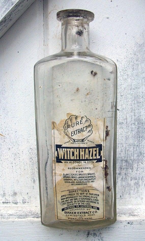 Antique APOTHECARY Pharmaceutical Witch Hazel Bottle Original Label