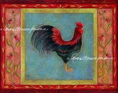 Tuxton Rooster Print - Glicée, Artist Signed, Black Rooster, Decorative,
