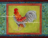 Montier Rooster Print - Glicée, Artist Signed, Chicken, Rooster, Decorative,
