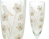 White Birds Wedding Toasting Flutes, Champagne Glasses, Cherry Blossoms, Pearl, Set of 2