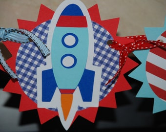 Rocket Ship to the Moon Birthday Banner & Centerpiece
