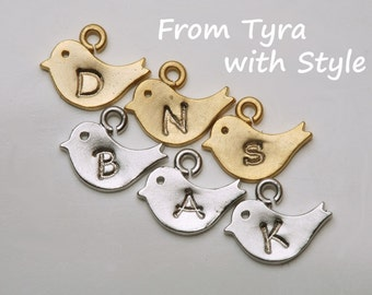 initialed baby bird,tiny bird charm,Hand stamped bird charm,monogram bird charm