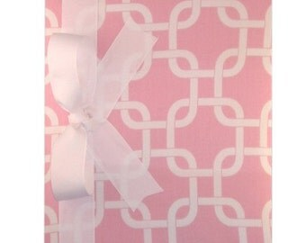Tight Bound Baby Memory Book - Pink and White Patterened