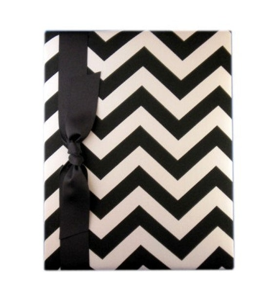 Tight Bound Baby Memory Book - Black and White Chevron Stripe