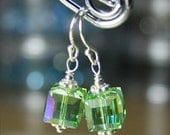 ON SALE - Swarovski Crystal Cube Earrings in Peridot Green AB - Handmade with Sterling Silver and Swarovski Crystal