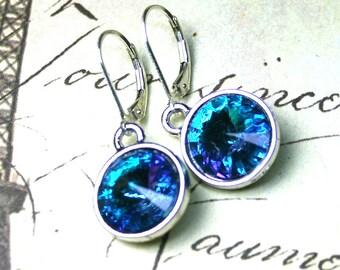 Aqua and Sapphire Blue Swarovski Crystal Rivoli Earrings - Aqua Vitrail Light - Sterling Silver Leverbacks