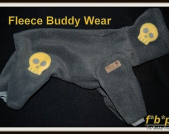 Appliqued Buddy Wear Fleece Jogger for Italian Greyhounds, American Hairless, Chinese Cresteds and all small dogs up to 18""