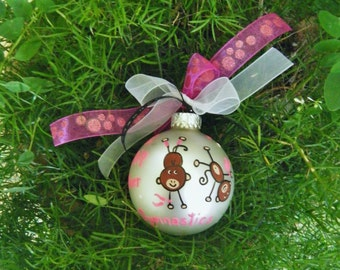 Gymnastics Ornament - Personalized for Birthday or Christmas, Monkey Ornament - Hand Painted Christmas Ornament - Glass Bauble