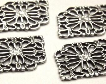 Antique Silver Diamond Filigree Connectors (4) AS039