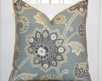 DOUBLE SIDED - Beautiful Decorative Pillow Cover - Floral - Throw Pillow - Accent Pillow - Sage Green - Blue - Gray