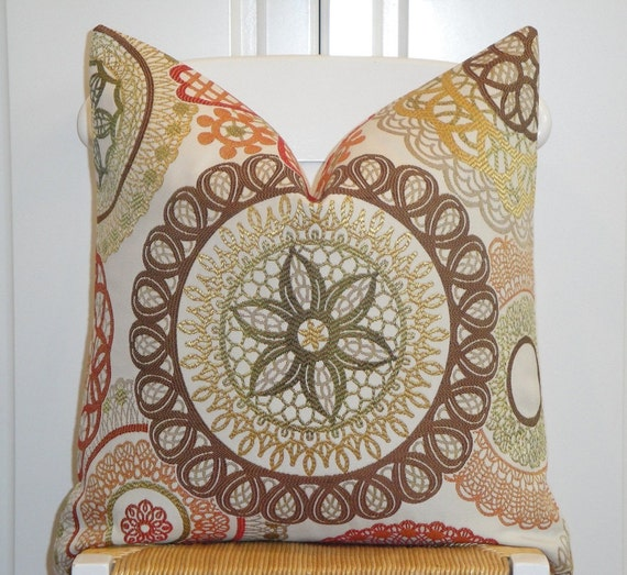 Decorative Pillow Cover - 18 x 18, 20 x 20 - Accent Pillow - Throw Pillow - Geometric - Medallion - Brown - Orange - Green - Gold - Red