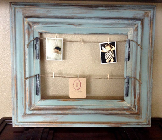 distressed duck egg blue memo board frame with clothes pins. Black Bedroom Furniture Sets. Home Design Ideas