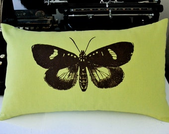 Mirabella Moth Pillow Cover in Apple Green