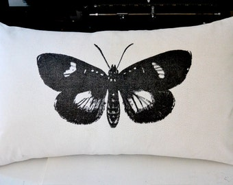Mirabella Moth Pillow Cover in White Textured Cotton Sheeting
