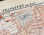 1892 Victorian FRANKFURT city map. Germany. Old lithograph print.