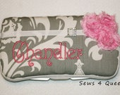 Boutique Personalized Grey and White Designer Print with Pink Shabby Accents Baby Wipes Case