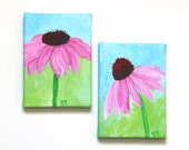 PURPLE CONEFLOWER, original floral painting set, Two 5x7 Acrylic Canvas, Home Decor Wall Art - nJoyArt