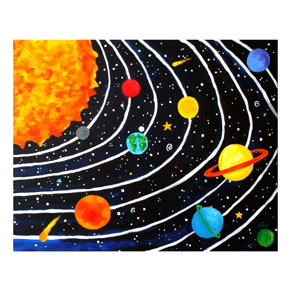 Solar System Wall Art Print for Children 20x16 Giclee by ...