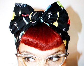 Vintage Inspired Head Scarf, Retro Kitchen, Rockabilly
