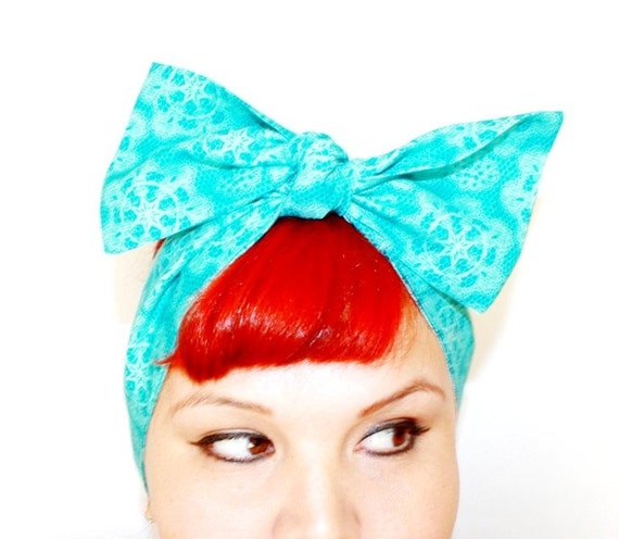 SALE!!! Vintage Inspired Head Scarf, Turquoise Lace Pattern, Rockabilly, Retro, 1940s, 1950s