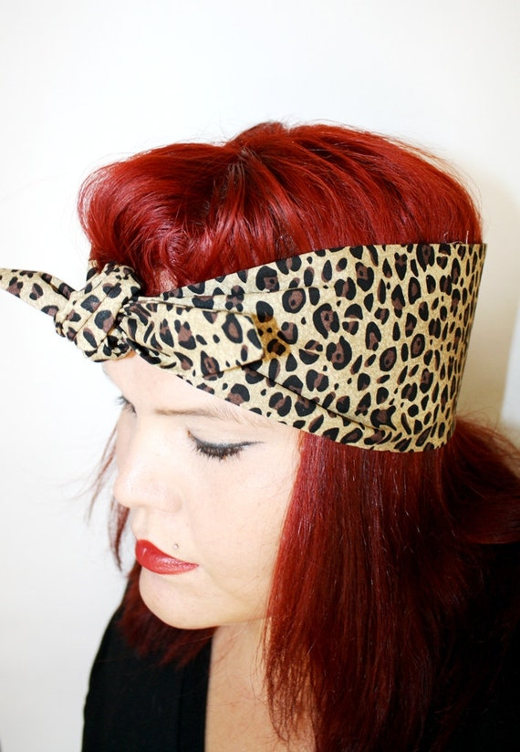 Vintage Inspired Head Scarf, Bow or Bandanna Style, Leopard print, Retro, Boho, Rockabilly, Fall Fashion