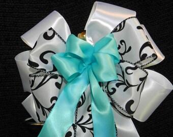 Wedding/ Pew Bows set of 12,White, Damask and Robbins Egg Blue Satin