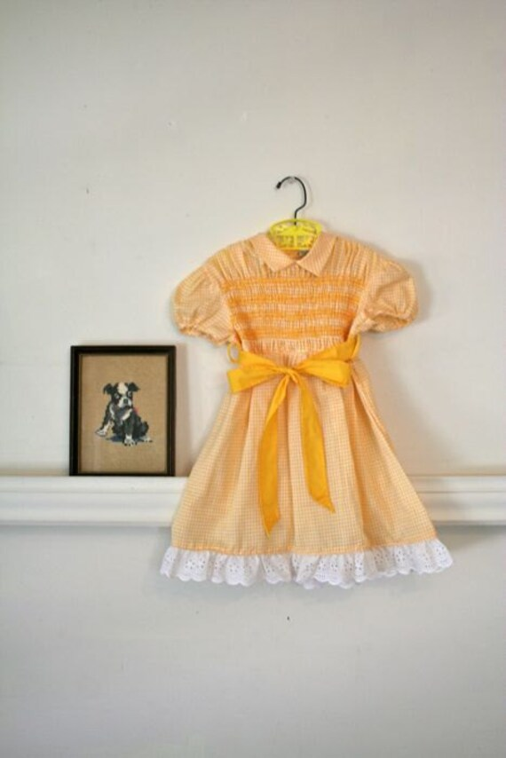 vintage girl's party dress - MARY JANE yellow smocked dress / 5T