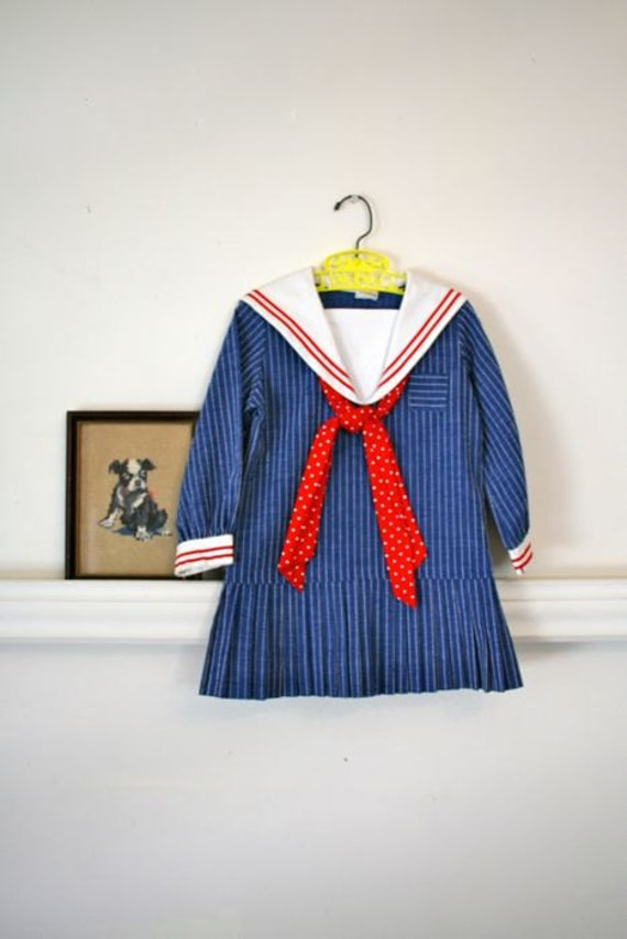 Vintage Girls 60s Dress Little Miss Sailor Nautical By Mstips