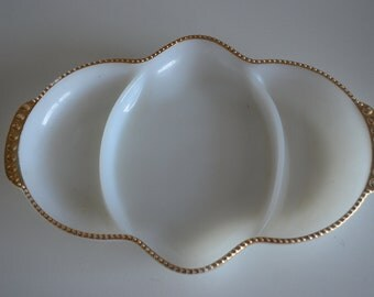 Vintage White Milk AnchorGlass w/ Gold Relish Tray Serving- Fire King Made in USA