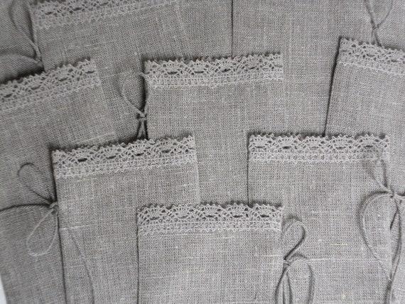 Linen gift bags set of 100 natural gray burlap rustic wedding favor bags candy bar bags