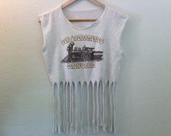 Old Sacramento California / Crop Top / Belly Top / Fringe Top / Muscle Top / Graphic Tee / Train / Boho / Music Festival / Heather Gray
